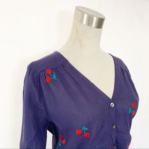 THML Tops - THML Boho Peasant Top with Embroidered Cherries